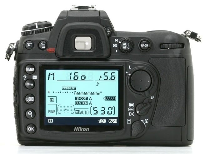 The back view of a Nikon D300 DSLR