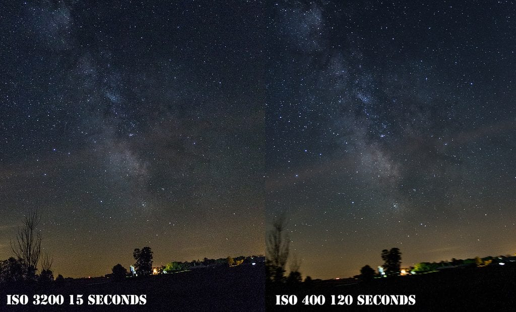 ISO comparison - ISO 3200 (short exposure) vs. ISO 400 (long exposure)