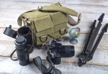 DSLR Camera Bag and appliances for photography top view